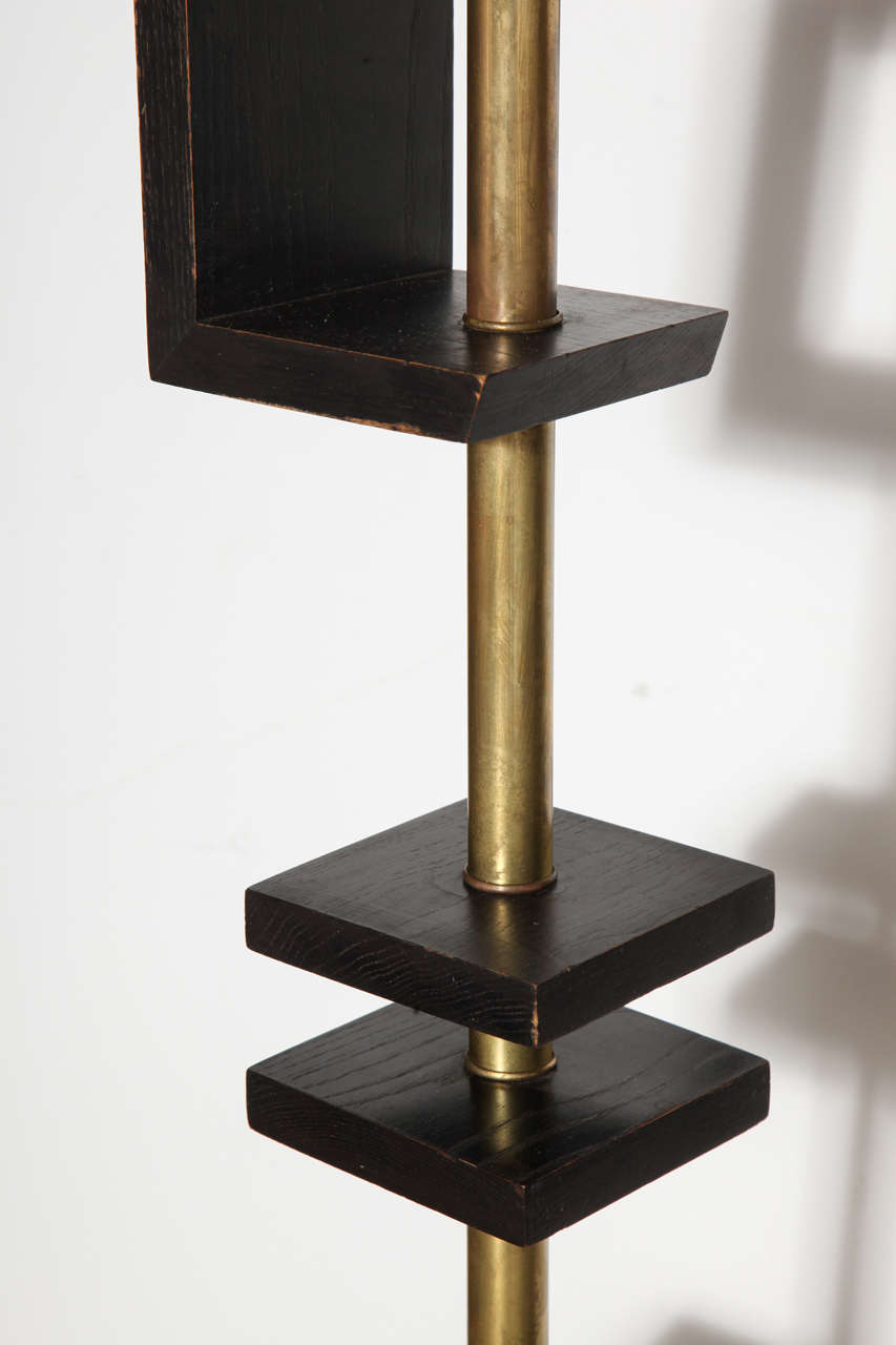 Late 1940s Black Lacquer and Brass Floor Lamp, Attributed to James Mont 8