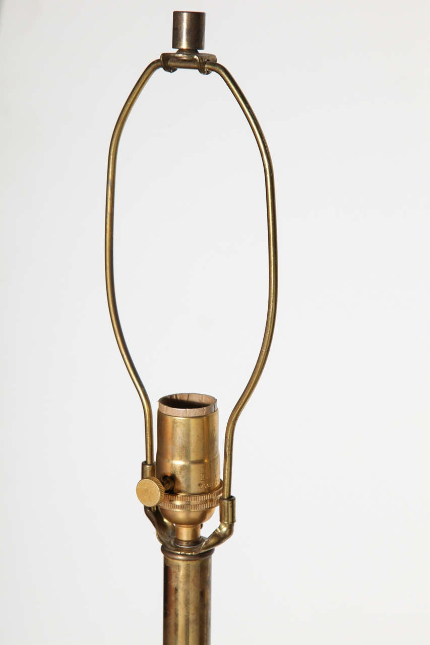 Late 1940s Black Lacquer and Brass Floor Lamp, Attributed to James Mont 9