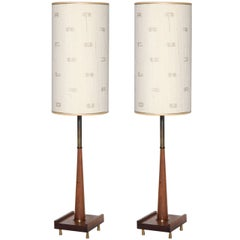Tall Pair of Paul McCobb Style Walnut and Brass Candlestick Lamps, 1950s