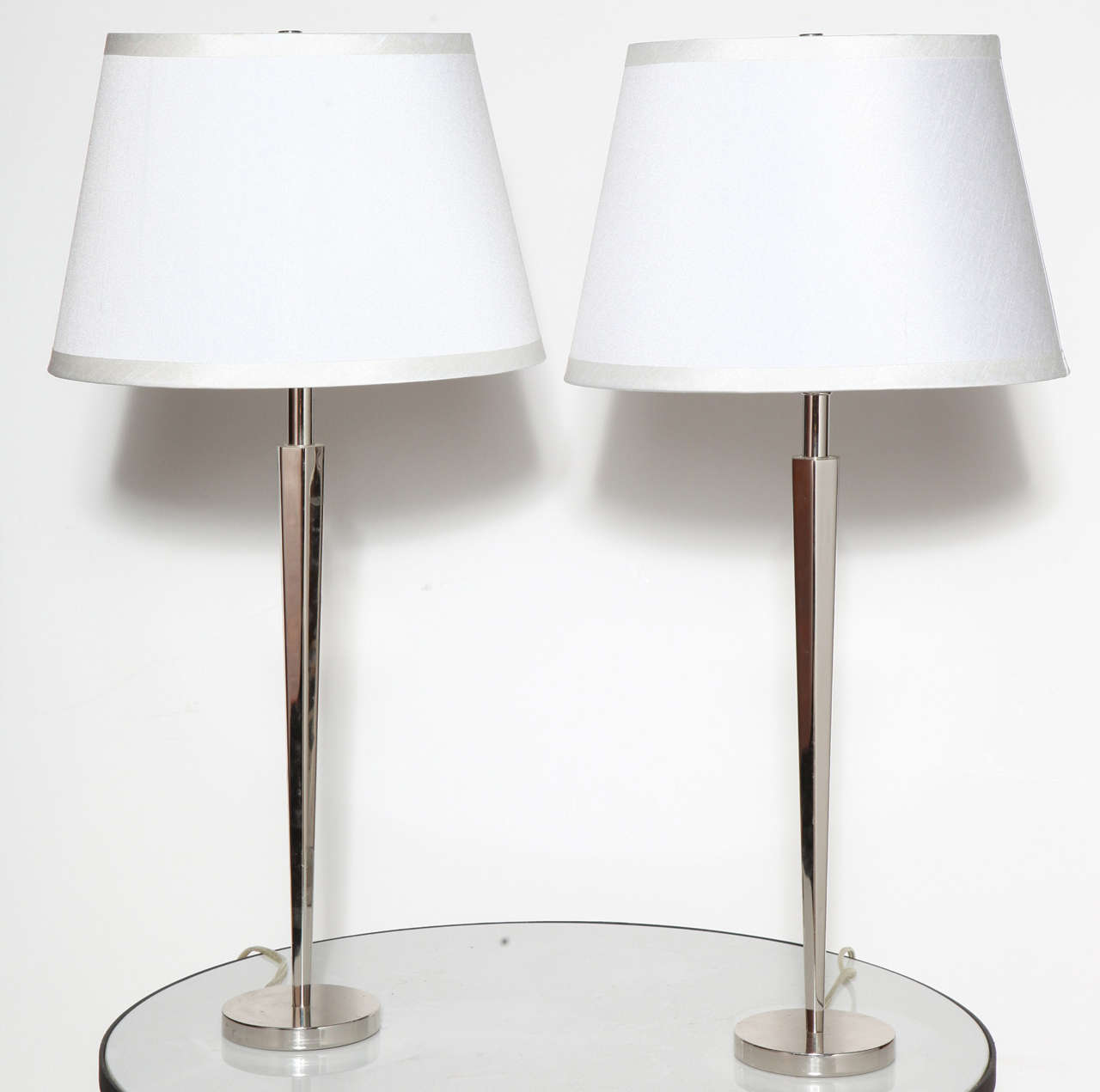Pair Of Polished Nickel Pacific Heights Candlestick Table Lamps By Barbara  Barry 2