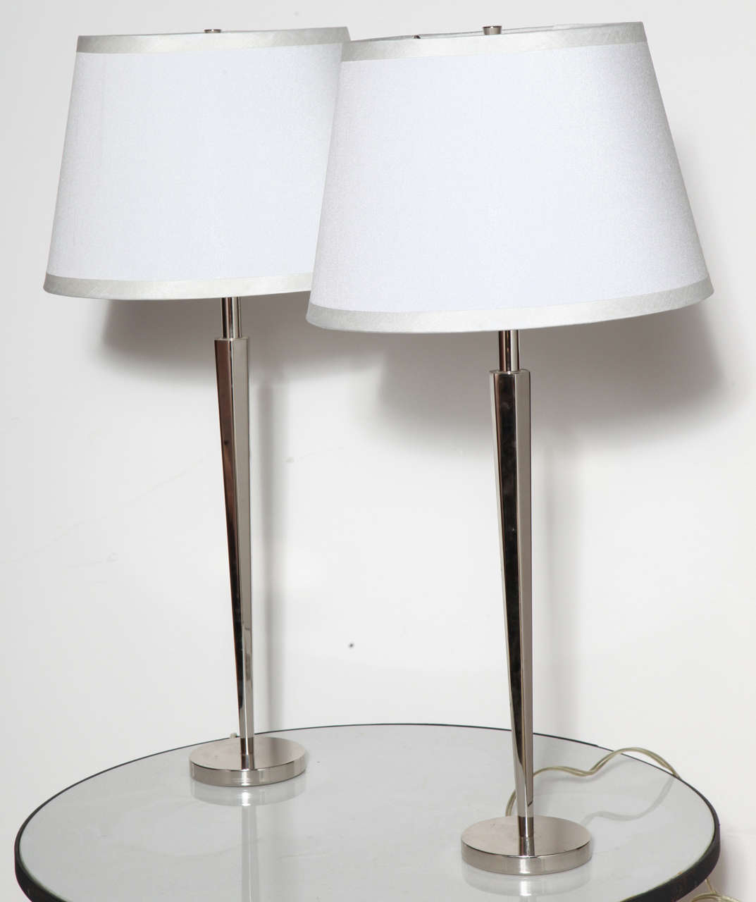 Pair of polished nickel pacific heights candlestick table for Barbara barry floor lamp