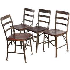 4 circa 1900 Factory Work Chairs