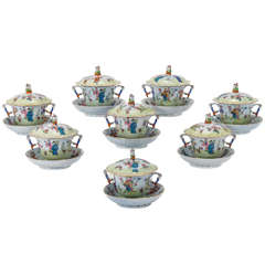 """Set of Eight Herend """"Csung"""" Hand-Painted Soups with Handles, Lid & Stand"""