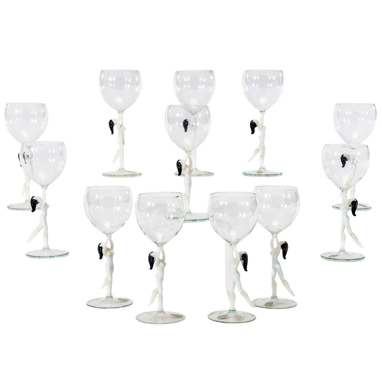 Set of 12 Bimini Lauschaer Nude Stem Goblets W/ Original Labels