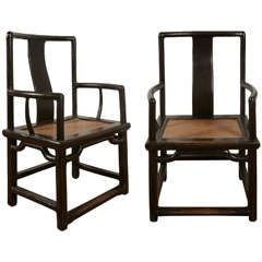 19th Century Pair of Chinese Black Lacquered Armchairs