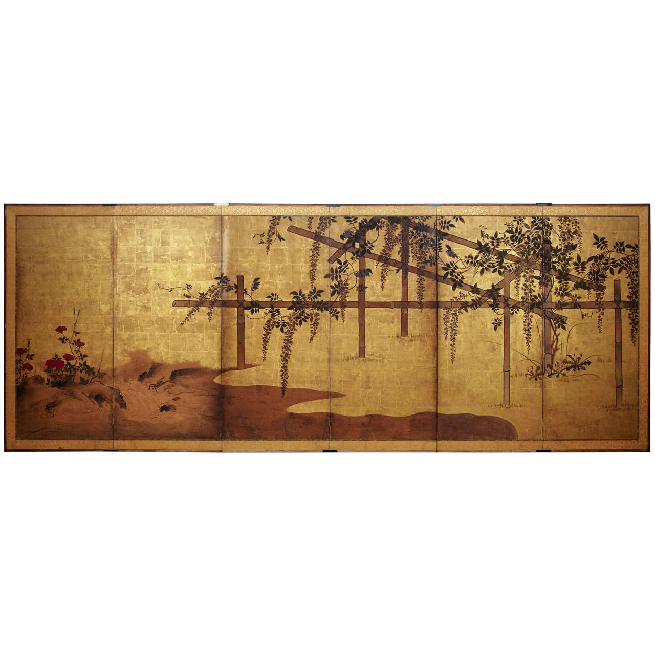 19th C Six Panel Japanese Screen At 1stdibs