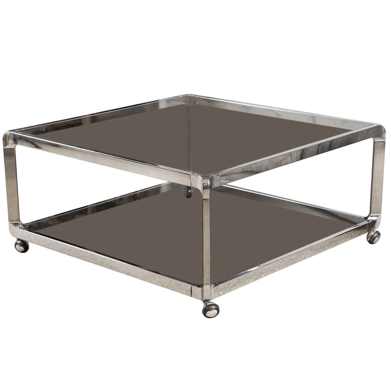 A Two Tiered Chrome Coffee Table