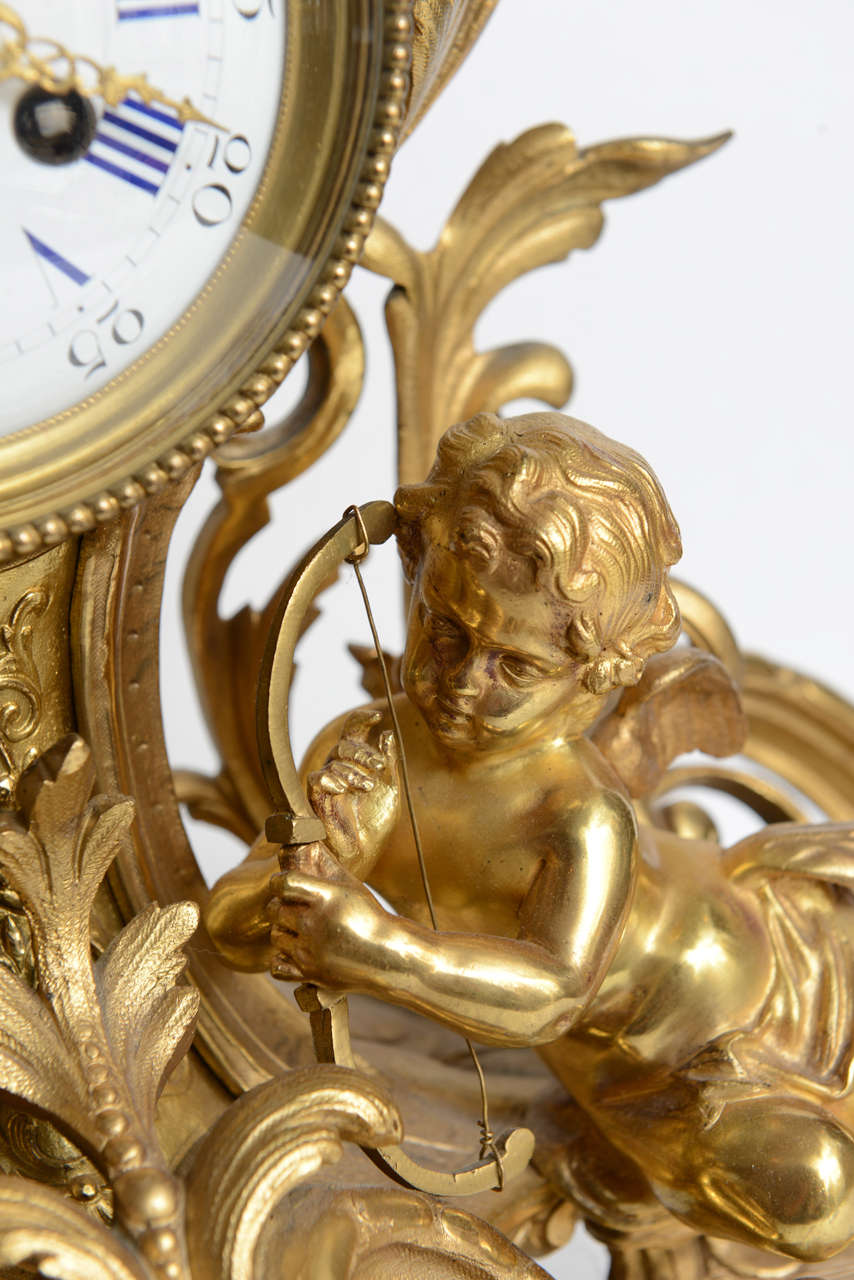 French Louis Xv Mantel Clock With Putti 19th Century At