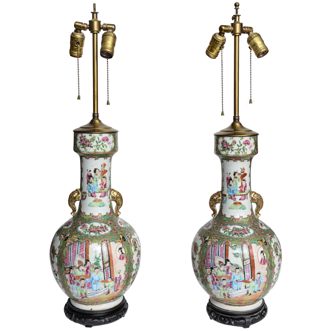 Pair Of Chinese Porcelain Famille Rose Vases Lamps 19th