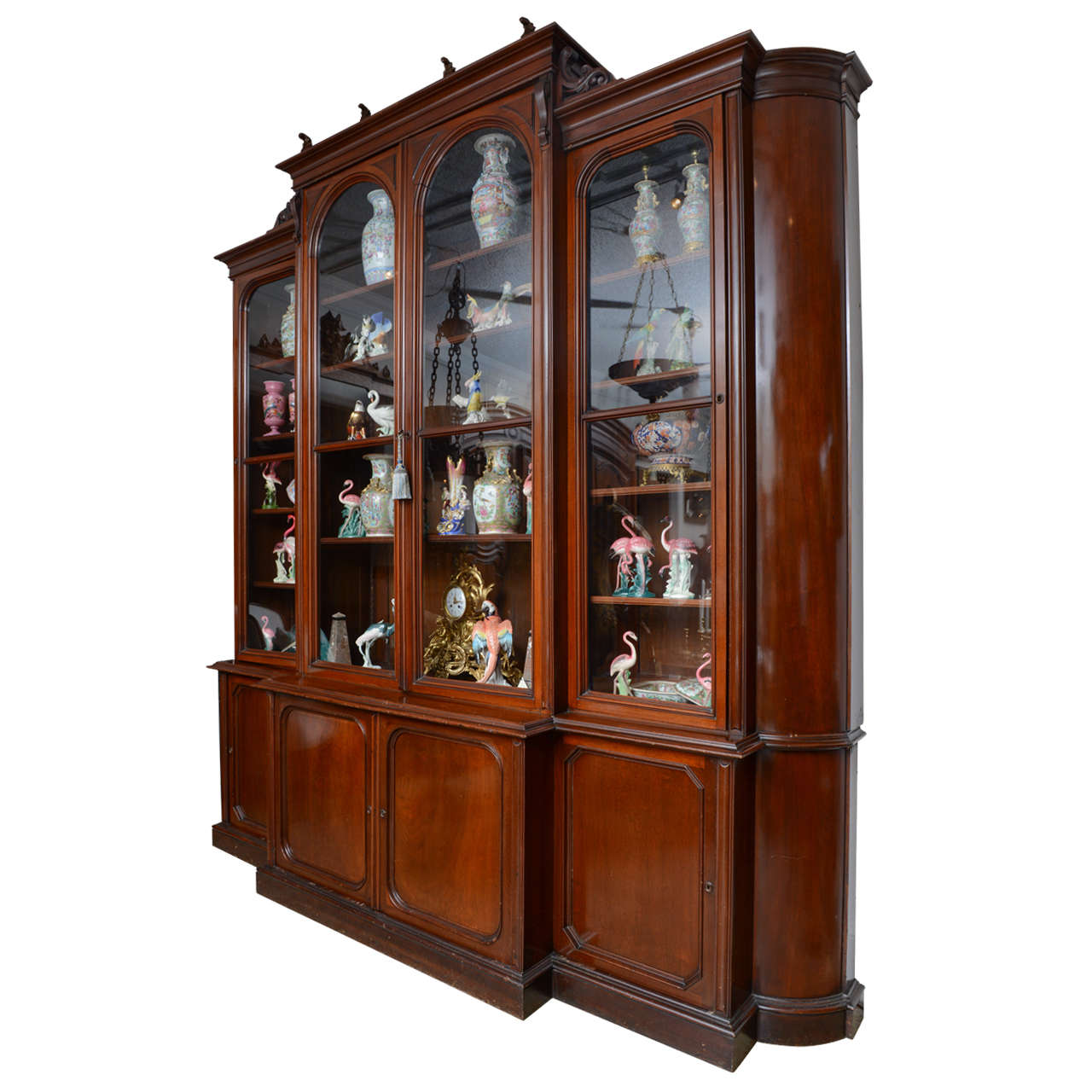 Huge American Breakfront Bookcase Display Cabinet Late