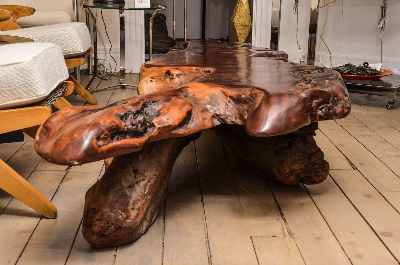Sculptural Cypress Wood Table At 1stdibs