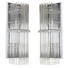Pair of Crystal Rod Sconces by Lightolier