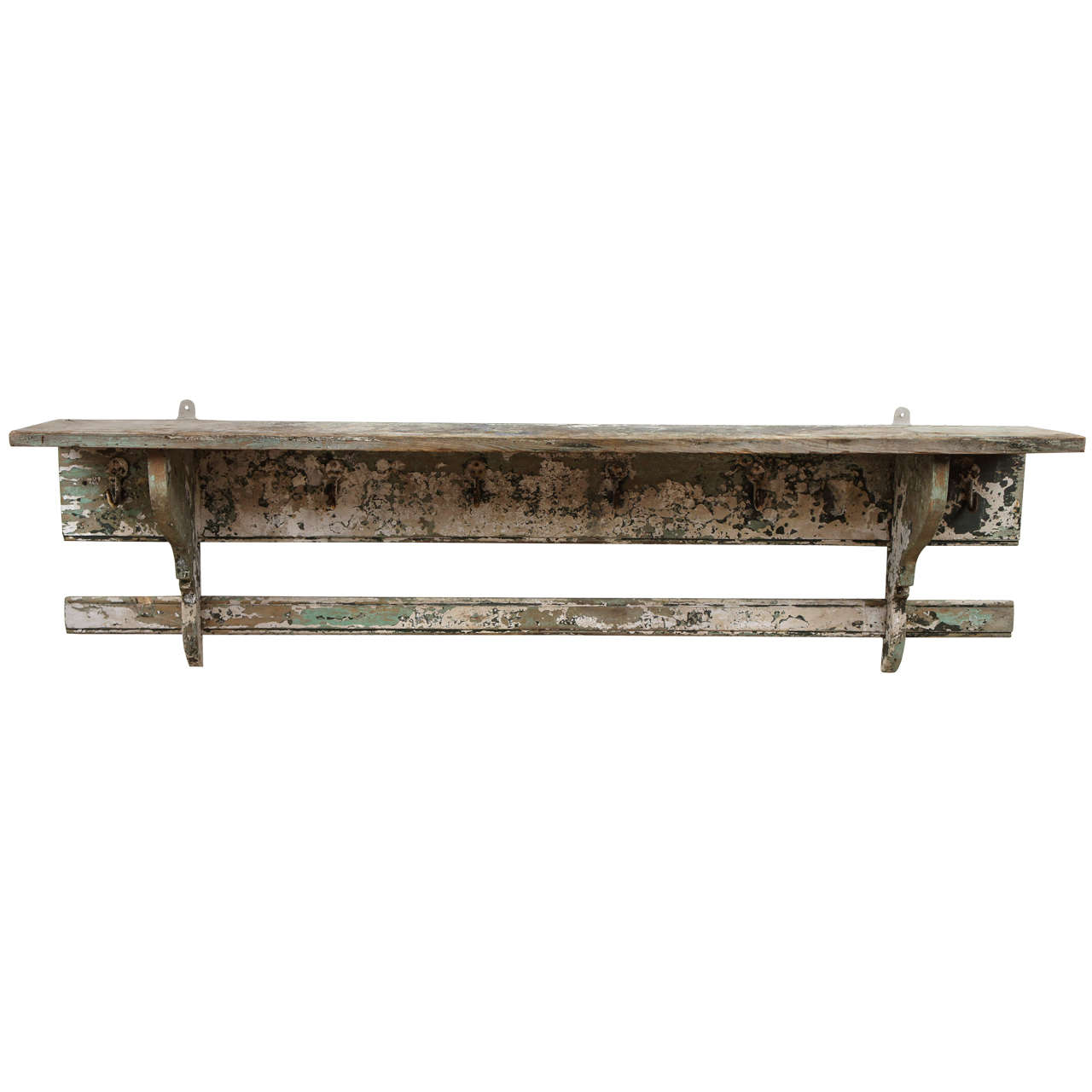 French Rustic Wall Shelf, With Hooks At 1stdibs