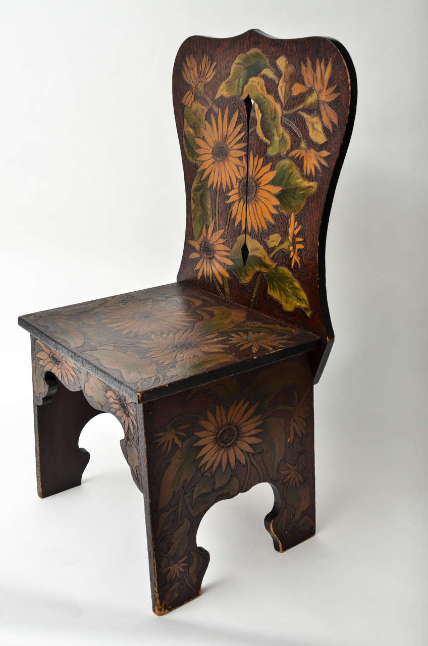 Sculptural wood side chair with pyrography and painted