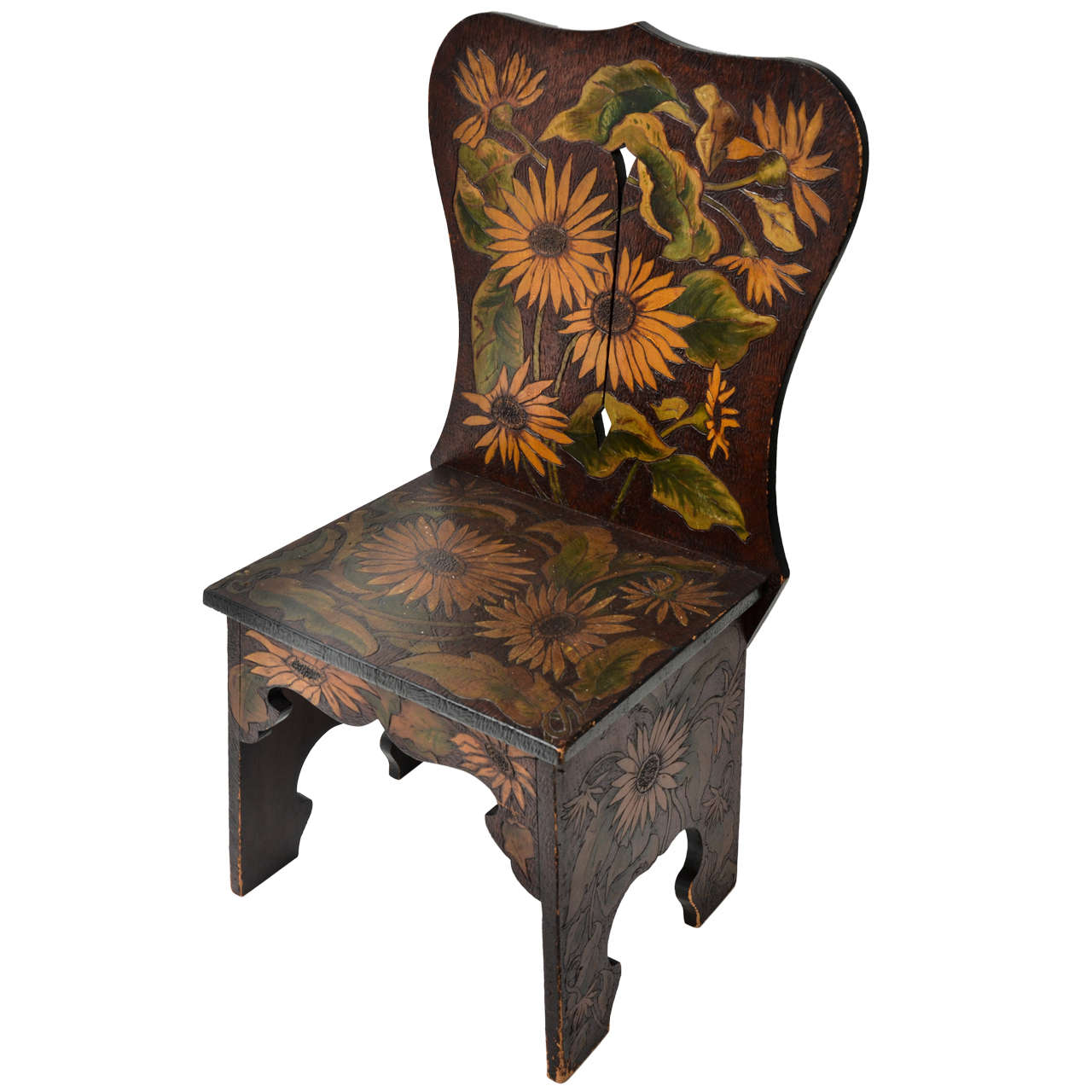 Sculptural Wood Side Chair with Pyrography & Painted Sunflower Ornament 1