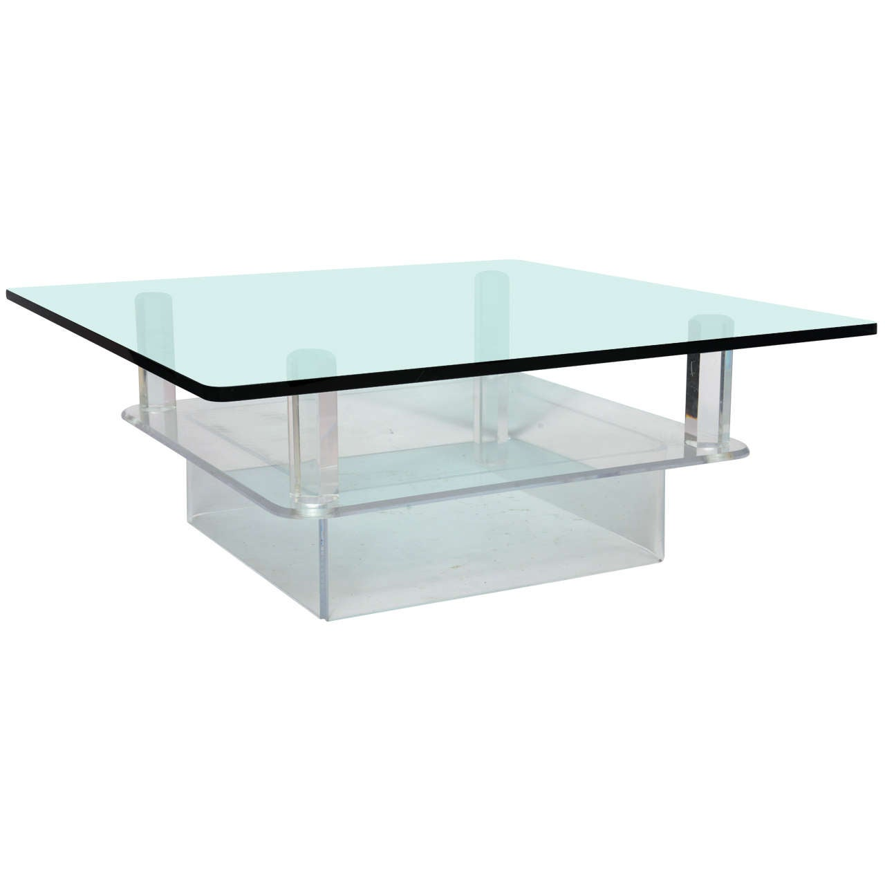 Two Tier Glass Top Lucite Coffee Table At 1stdibs