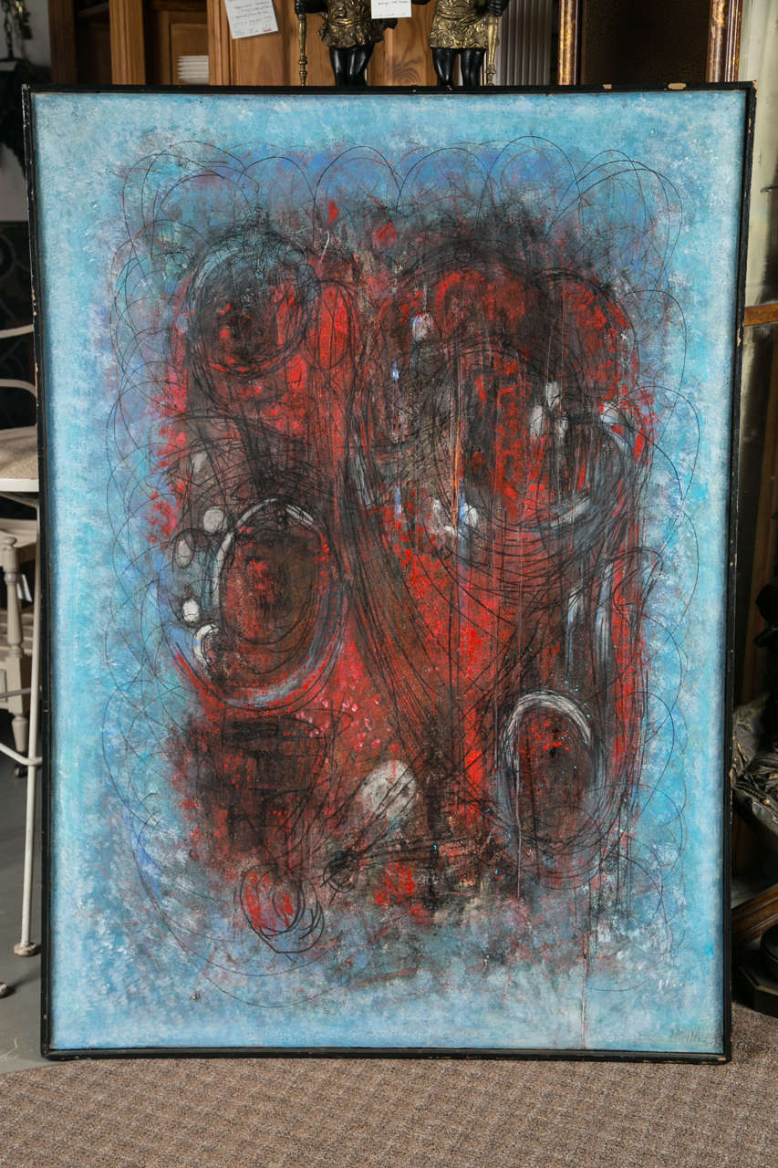 C 1950 Signed Abstract Painting For Sale At 1stdibs