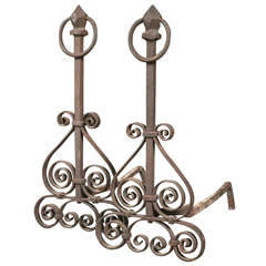 Pair of Early 20th C. Iron Andirons