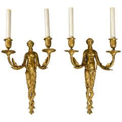 Pair of circa 1800 Bronze Figural Sconces