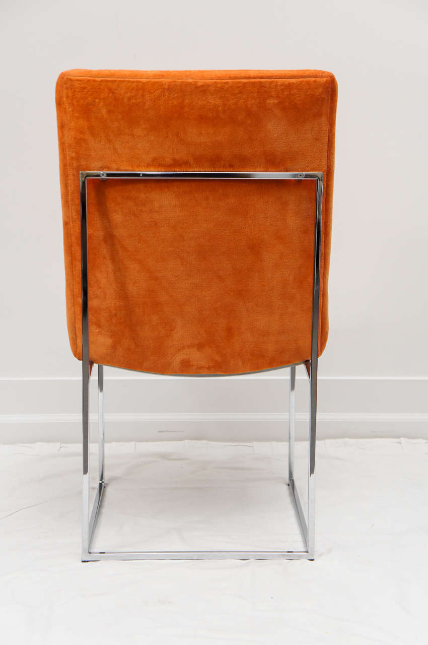 American 6 mid century Milo Baughman chrome dining chairs For Sale