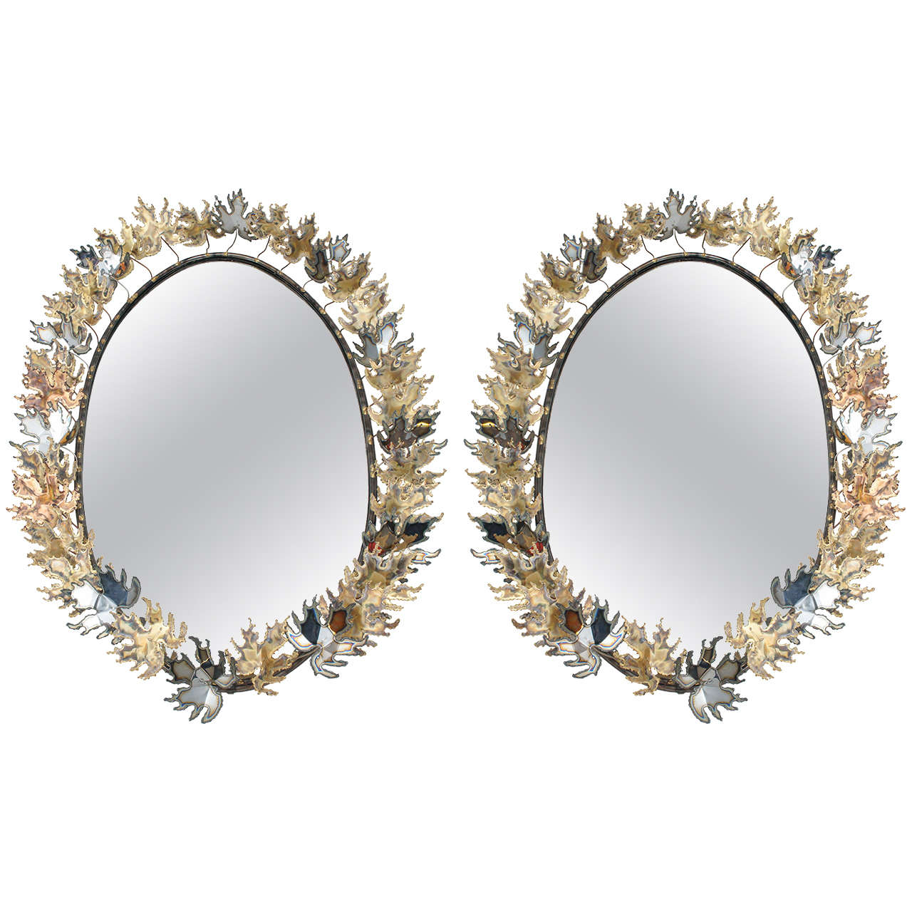 a pair of Curtis Jere Autom Leaf mirrors