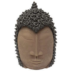 Signed Pottery Buddha Head Sculpture