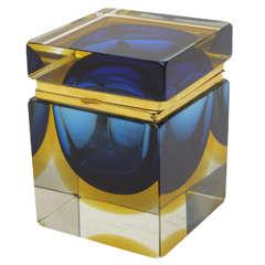 Italian Mandruzzato Murano Glass Sommerso Jewelry Hinged Box