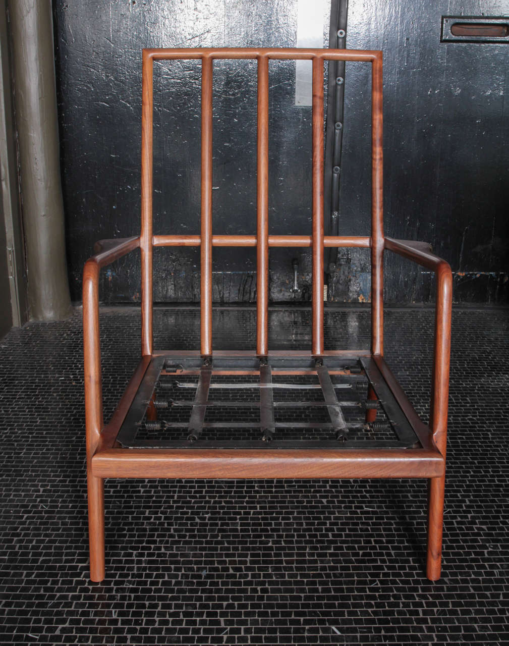 Sculpted walnut high rail back lounge chair by Smilow Furniture. Solid walnut frame. Chair is priced without cushions or ottoman.