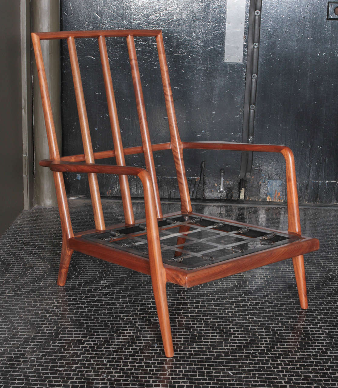 American High Backed Walnut Lounge Chair by Smilow Furniture For Sale