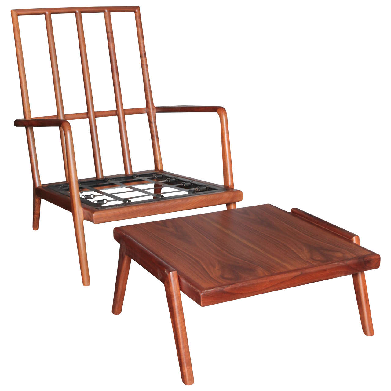 High Backed Walnut Lounge Chair by Smilow Furniture