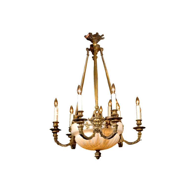 Antique Chandelier. Gilt Bronze and Alabaster Chandelier