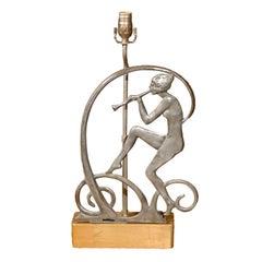 Art Deco Style Figural Lamp on Custom Giltwood Base
