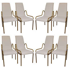 Seat of 8 Brass Frame Dining Chairs