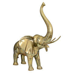 Vintage Brass Elephant with Raised Trunk