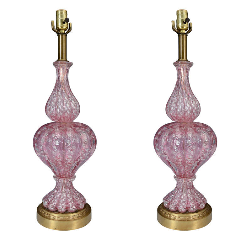 pair of pink murano glass lamps on brass bases at 1stdibs. Black Bedroom Furniture Sets. Home Design Ideas