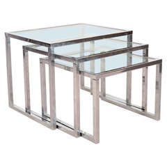 Set of Three Mid Century Chrome and Glass Nesting Tables
