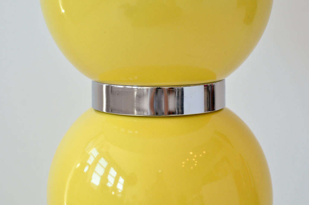 Pair of Yellow Ball Lamps 2