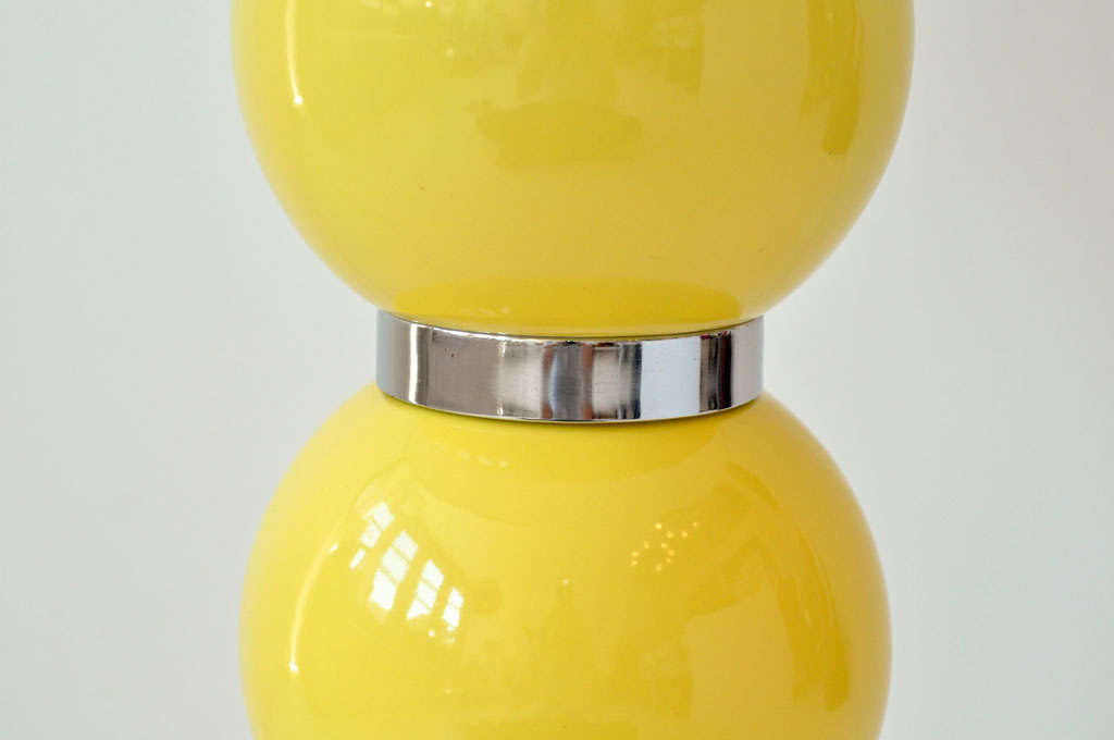 Pair of Yellow Ball Lamps 4