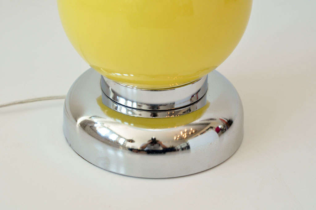 Pair of Yellow Ball Lamps 5