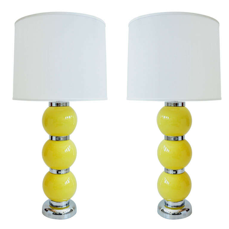 Pair of Yellow Ball Lamps 1