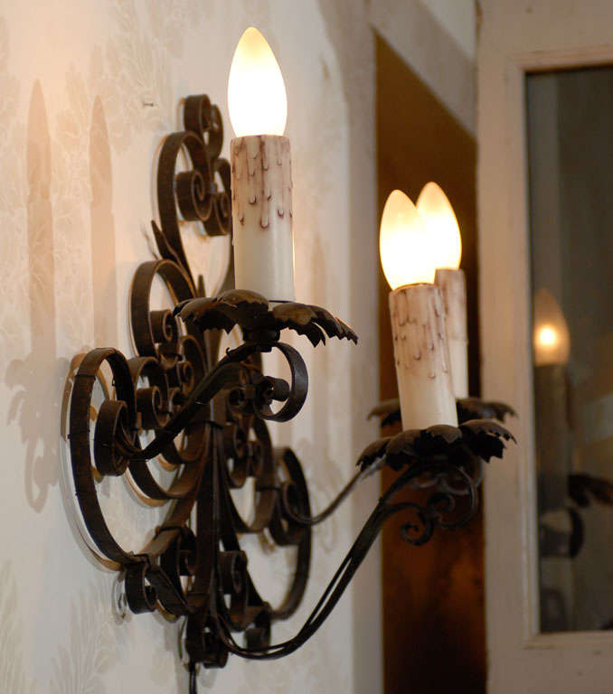 Vintage Black Wall Sconces : Pair of Vintage Black Iron Wall Sconces from France, Circa 1920 For Sale at 1stdibs