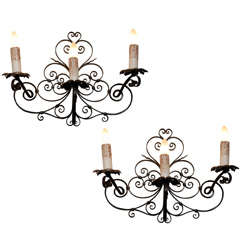 Pair of Vintage Black Iron Wall Sconces from France, Circa 1920