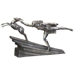 """Art Deco Bronze """"Chasing the Hind"""""""