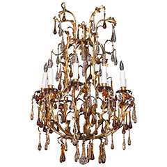 Antique French crystal and gilt iron 10-light chandelier w/amber crystals.