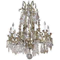 Antique French Crystal And Bronze D'ore 11-light Chandelier.