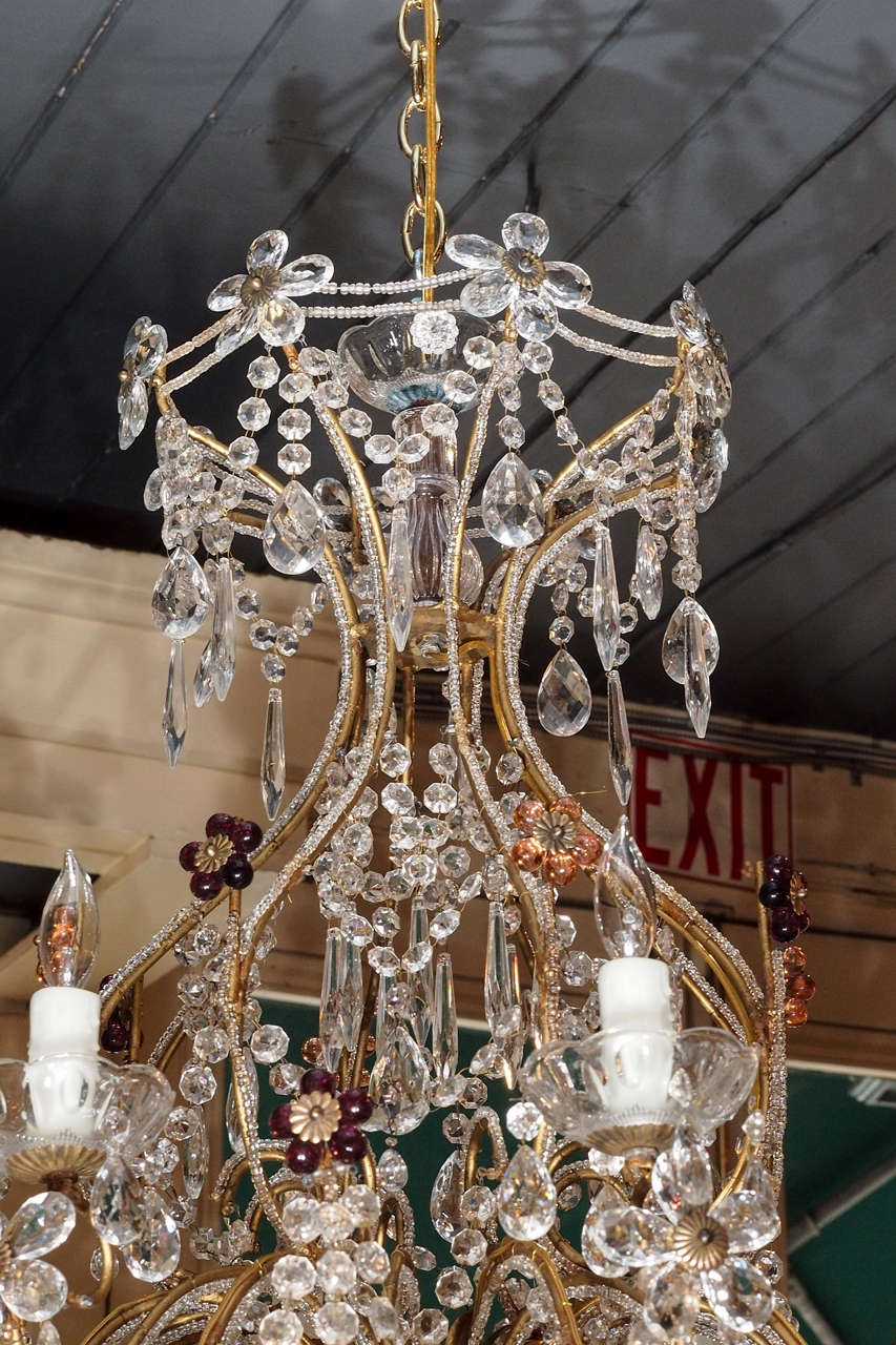 Antique Italian Crystal And Beaded Iron 8-light Chandelier. In Good  Condition For Sale - Antique Italian Crystal And Beaded Iron 8-light Chandelier. For Sale