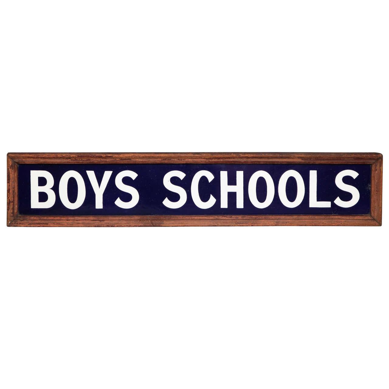 "1920's English Enameled ""Boys Schools"" Sign"
