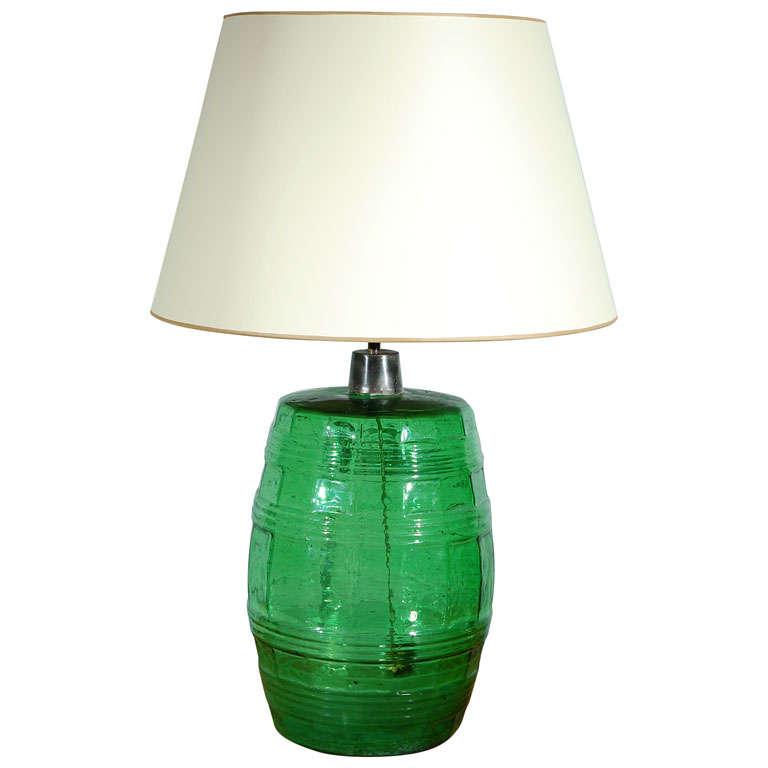 Green Glass Keg Table Lamp For Sale