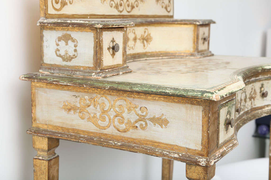 Gilt Gilded Florentine Writing Table/Vanity For Sale