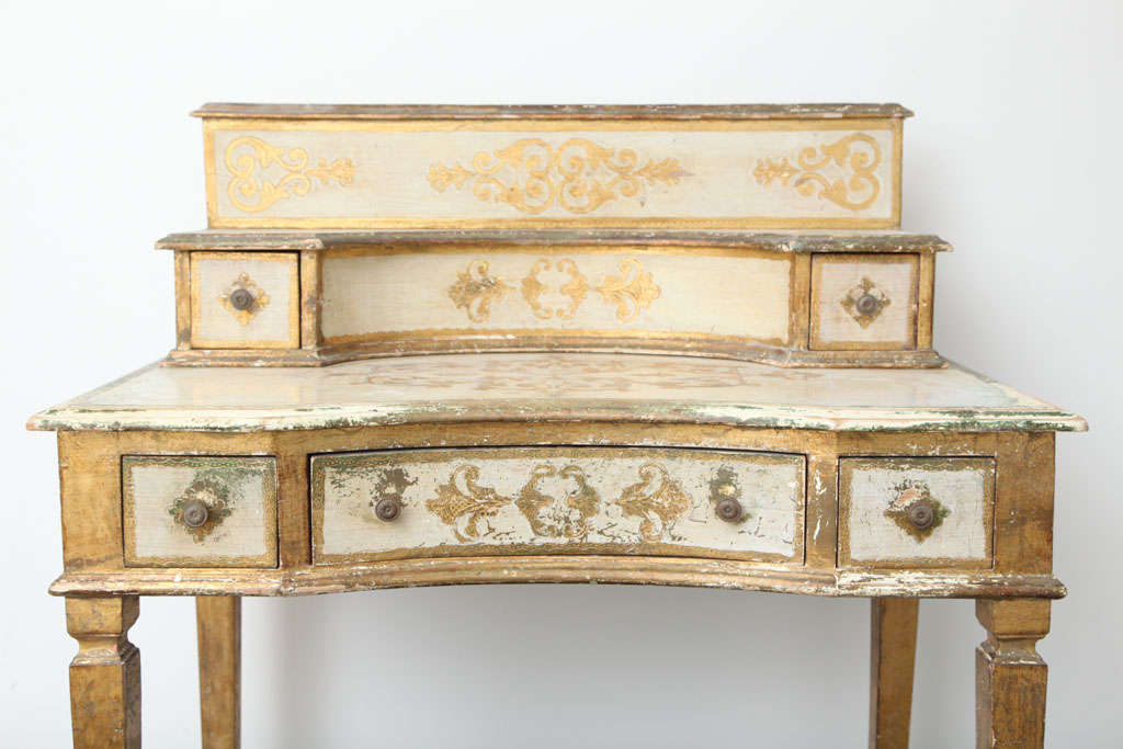Mid-20th Century Gilded Florentine Writing Table/Vanity For Sale